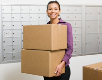 Woman with shipping boxes