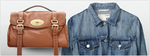 Leather purse and denim shirt